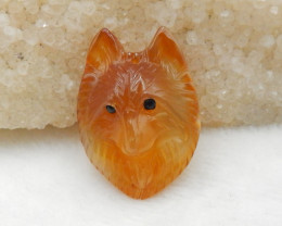 46.5cts Hand Carved Wolf Pendant ,Red Agate Wolf ,Wolf Head Pendant G774