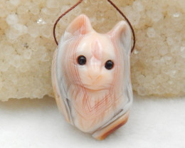64cts Hand Carved Wolf Pendant ,Pink Agate Wolf ,Wolf Head Pendant G776