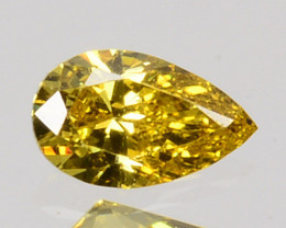 ~UNTREATED~ 0.09 Cts Natural Diamond Fancy Yellow Pear Cut Africa