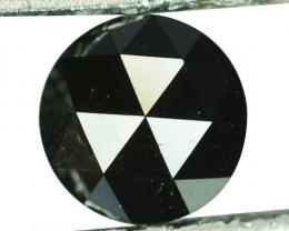 0.79 Cts Natural Coal Black Diamond 5.5mm Round (Rose Cut) Africa