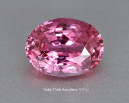 Near Loupe Clean Shiny Baby Pink Sapphire - 3.54 ct Oval - heated Gem