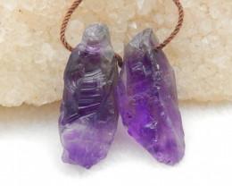28.5CTS Raw Amethyst Earrings, Natural Gemstone Earrings,Wholesale Jewelry