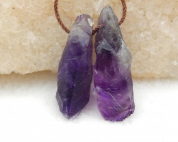 30CTS Raw Amethyst Earrings, Natural Gemstone Earrings,Wholesale Jewelry G8