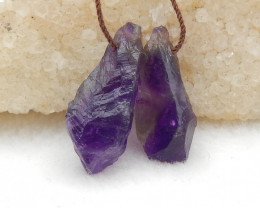 29CTS Raw Amethyst Earrings, Natural Gemstone Earrings,Wholesale Jewelry G8