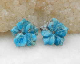 10.5cts Flower Earrings,Natural Apatite Handcarved Flower Earring G808