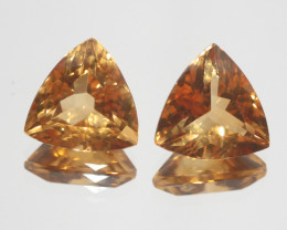 15.6Ct  Top Color Citrine Pair Faceted Trillion 14mm.-(SKU359)