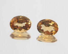 3.55Ct  Top Color Citrine Pair Faceted Oval 9x7mm.-(SKU361)