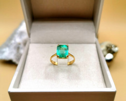 3,60ct Colombian Emerald 18k Solid Gold Ring Colombian Emerald natural emer