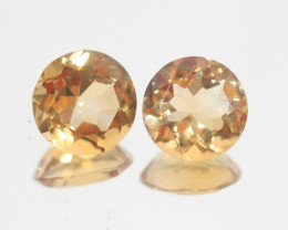 4.35Ct  Top Color Citrine Pair Faceted Round 9mm.-(SKU364)