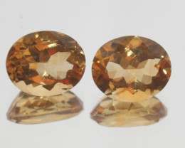 6.85Ct  Top Color Citrine Pair Faceted Oval 11x9mm.-(SKU368)