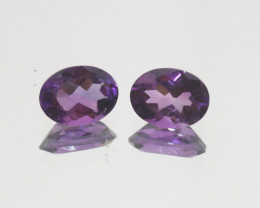 2.3 Ct Amethyst Pair Faceted Oval 8x6mm.-(SKU 375)