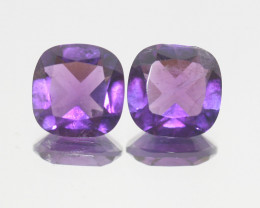 6.4 Ct Amethyst Pair Faceted Square 10mm.-(SKU 376)