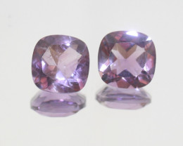 5.8 Ct Amethyst Pair Faceted Square 9mm.-(SKU 377)