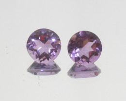 3.7 Ct Amethyst Pair Faceted Round 8mm.-(SKU 378)
