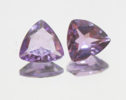 2.5 Ct Amethyst Pair Faceted Trillion 8mm.-(SKU 379)