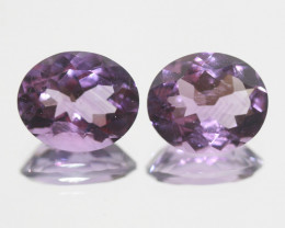 7.8 Ct Amethyst Pair Faceted Oval 12x10mm.-(SKU 383)