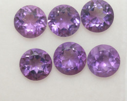 4.7 Ct Amethyst Lot Faceted Round 6mm.-(6Pcs).-(SKU 391)