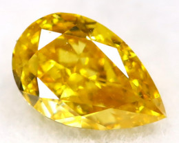Intense Yellow Diamond 0.19Ct Untreated Genuine Fancy Diamond A0507