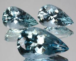 ~SET~ 11.39 Cts Natural Aquamarine Santa maria Blue 3Pcs Pear Cut Brazil