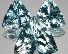~SET~ 17.65 Cts Natural Aquamarine Santa maria Blue 3Pcs Trillion Brazil