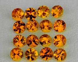 1.70 mm Round Machine Cut 35pcs Orange-Yellow Sapphire [VVS]