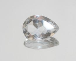9 Ct Rock Crystal Quartz Faceted Drop 17.7x12.4mm.-(SKU 408)