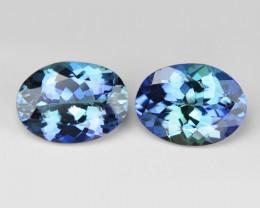 Peacock Tanzanite 2.32 Cts 2pcs  Rare Green Blue Color Natural Gemstone