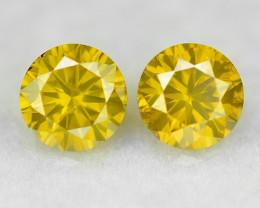 0.35 Cts 2 PCS Sparkling Rare Fancy Vivid Yellow Color Natural Loose Diamon