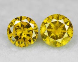 0.47 Cts 2 pcs Sparkling Rare Fancy Vivid Yellow Color Natural Loose Diamon