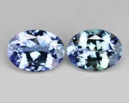 2.38 Cts 2pcs Amazing rare Violet Blue Color Natural Tanzanite Gemstone