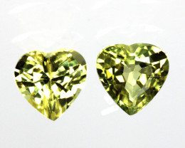 1.08cts  Matching Pair Heart Shape Natural Sapphires 2pcs