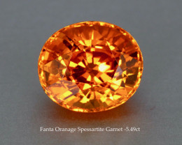 Near Loupe Clean Sparkling Fanta Orange Spessartite Garnet - Oval 5.49ct