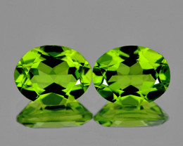 8x6 mm Oval 2pcs 3.04cts Green Peridot [VVS]