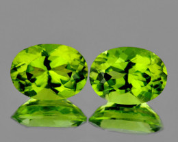 9x7 mm Oval 2 pcs 4.30cts Green Peridot [VVS]