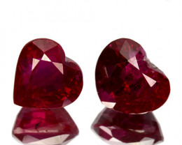 2.13 Cts NATURAL CORUNDUM RUBY - PIGEON BLOOD RED -HEART - 2 PIECES BURMA