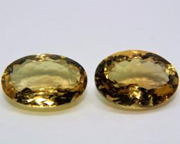 22.80 Cts 2 Pcs Amazing Rare Fancy Golden Yellow Quartz Natural Gemstone