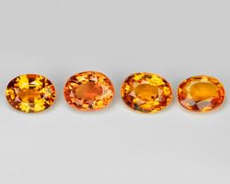 1.35 Carat 4 pcs Oval 4.46 x 2.55 Fancy Orange Color Sapphire Loose Gemston