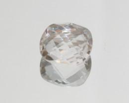 11.1 Ct Rock Crystal Quartz Cushion Briolette cut Faceted Square 15mm.-(SKU