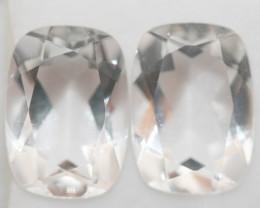 12.3 Ct Rock Crystal Quartz Pair Faceted Rectangular 14x10mm.-(SKU414)