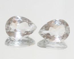 14.3 Ct Rock Crystal Quartz Pair Faceted Drop 16x11.7mm.-(SKU415)