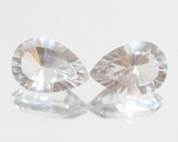 8.6 Ct Rock Crystal Quartz Pair Faceted Drop 13x9mm.-(SKU417)