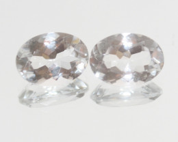 11.2 Ct Rock Crystal Quartz Pair Faceted Oval 14x10mm.-(SKU418)