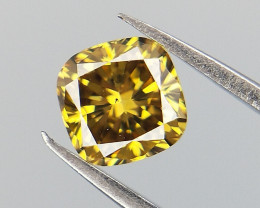 0.27 CTS , Cushion Brilliant Cut Diamond , Yellowish Green Diamond