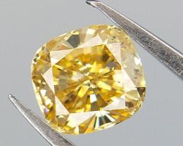 0.22 CTS , Cushion Brilliant Diamond , Yellow Diamond