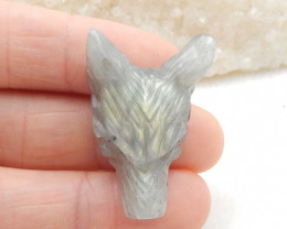 42.5cts  Hand Carved Wolf Pendant ,Labradorite Wolf ,Wolf Head Pendant G886