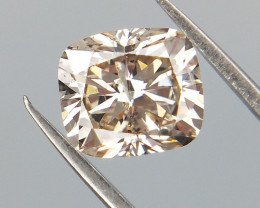 0.60 CTS , Cushion Brilliant Cut Diamond , Light Champagne Color