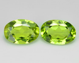 1.79 Cts 2pcs Pair Green Color Natural Peridot Gemstone