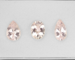 6.17 Cts 3 pcs Amazing Rare Natural Pink Color Morganite Gemstone