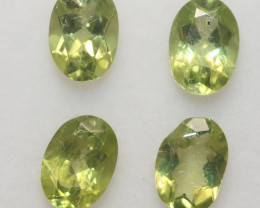 3.5 Ct Peridot Matching Lot Faceted Oval Cut 7x5mm.- Olivine Green.(SKU 426