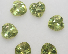 3.35 Ct Peridot Matching Lot Faceted Heart Cut 5mm.- Olivine Green.(SKU 427